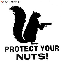 SLIVERYSEA Protect Your Nuts Squirrel Police Army Navy Marines Car Stickers And Decals Creative Sticker Black Sliver #B1081