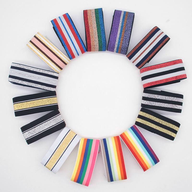 Elastic Bands 4cm 5cm Nylon Colorful Stripe Webbing Waist Band Rubber 40mm DIY Craft Supply For Bag Skirt Pants Decortion 1Meter