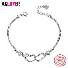 Женский браслет в форме сердца из 100% серебра 925 пробы с кристаллами