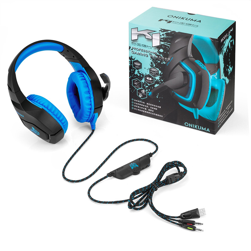 ONIKUMA K1-A Deep Bass Headphones active noise Canceling Over Ear Headsets Gaming Headphones with Microphone with Box xiberia s21 usb gaming headphones over ear noise canceling led stereo deep bass game headsets with microphone for pc gamer
