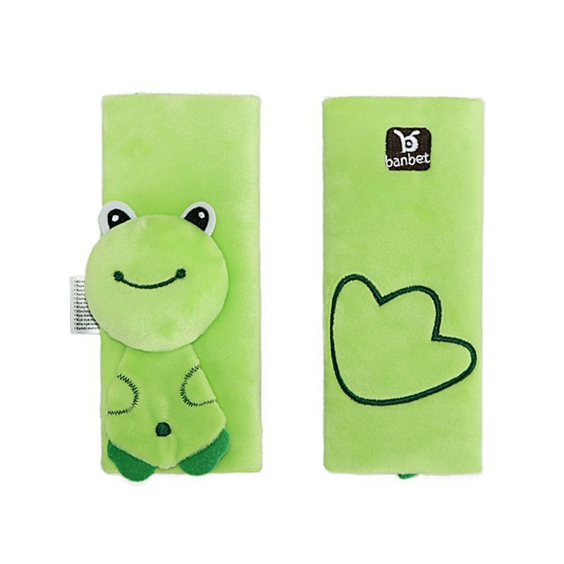 2pcs Baby Car Seat Belt Shoulder Pad Strap Cover Baby Cartoon Stroller Accessories (Frog)