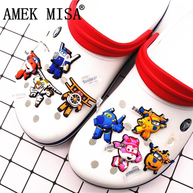 1pcs Sale Shoe Decorations 3D Super Wings Shoe Accessories Original Cartoon Shoe Buckles Accessory Fit Croc JIBZ Kids F-XFX08
