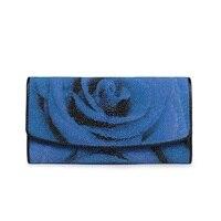 Необычные синяя Цвет Роза дизайнер из натуральной кожи ската дамы большой держатель для карт кошелек монет Карманный Для женщин клатч коше
