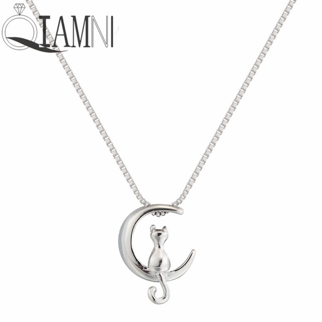 Qiamni 925 sterling silver cat moon animal minimalist charm collares qiamni 925 sterling silver cat moon animal minimalist charm collares pendant necklace handmade jewelry women girls aloadofball Gallery