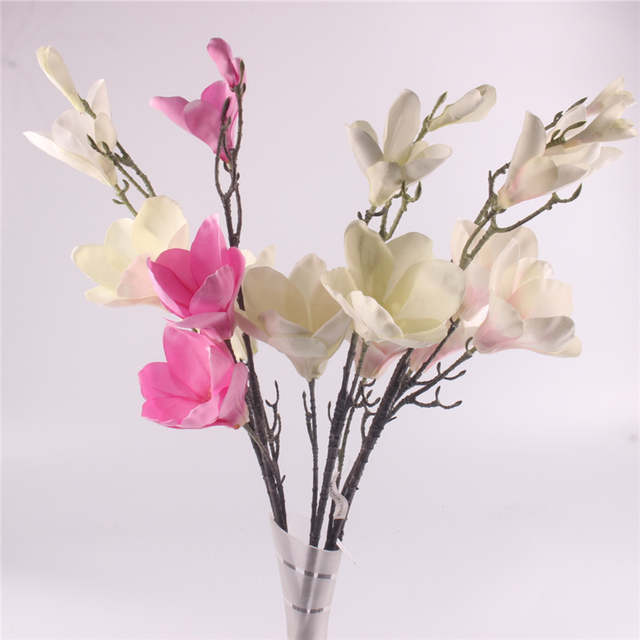 Online Shop 4 Heads Bouquet Silk Magnolia Flower Artificial Flowers