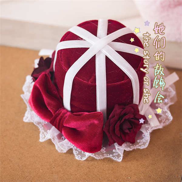 LOLITA retro Handmade red velvet hat clip hairband KC pearl rose lace headwear