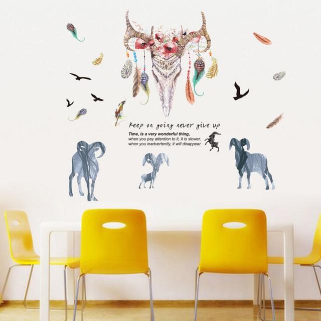 Grote Muurstickers Woonkamer.Us 6 75 Nieuwe Schapen Veren Grote Muurstickers Home Decor Woonkamer Diy Art Decals Wallpaper Verwijderbare In Nieuwe Schapen Veren Grote
