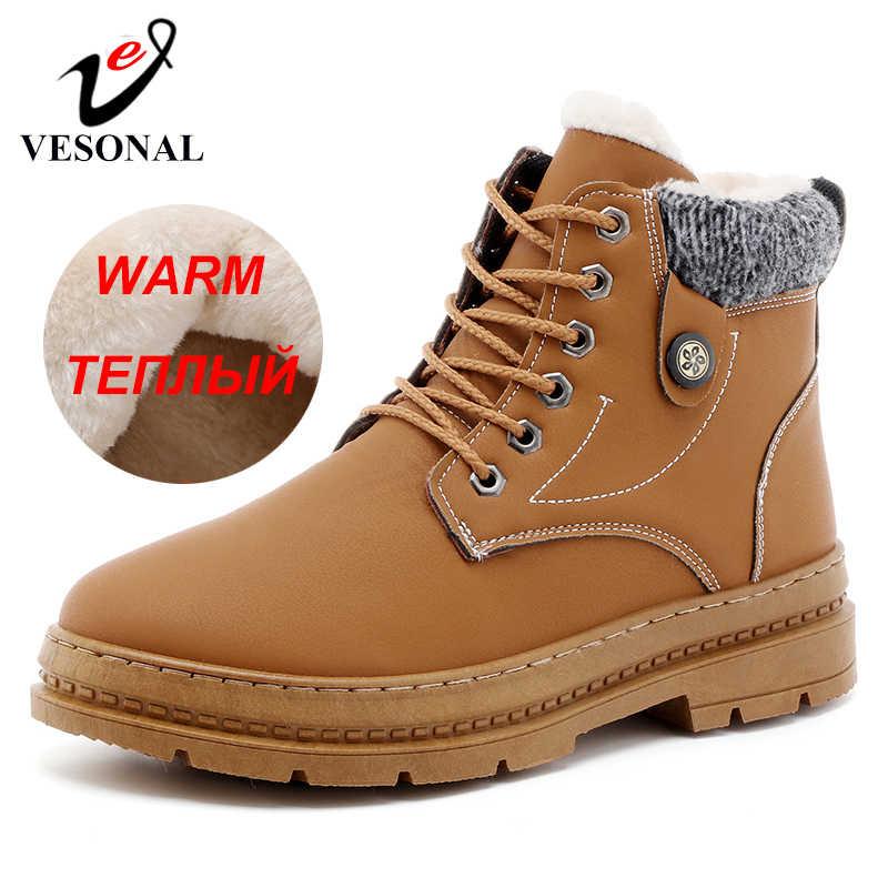 VESONAL Merk Mannen Enkellaars Schoenen Casual Voor Mannelijke Volwassen Winter Nieuwe Snowboots Warm Met Bont Korte Pluche Sneakers mannen Schoeisel