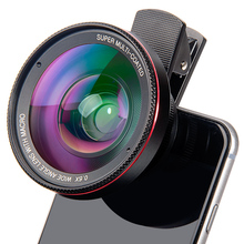 цена на Super Macro Lens 15X Wide 0.45X or 0.6X Phone Lens Kit HD Telefon Phone Super Fisheye Lente Camera Lentes For Smartphone