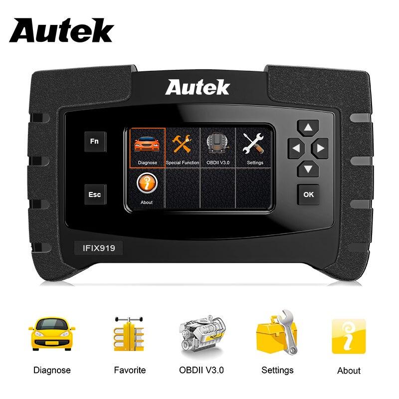 Autek IFIX919 OBD2 Motor ABS Airbag Scanner Automotivo Ferramenta Completa Do Sistema de Diagnóstico Do Carro Caixa de Velocidades SAS Scanner ODB OBD 2 Polonês