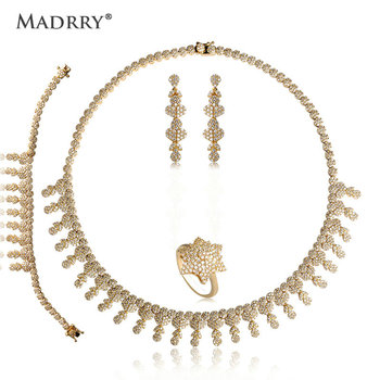 Madrry Gorgeous Bridal Wedding Jewelry Sets Copper Metal Pave Setting Zircon Necklace Earring Bracelet Ring For Women Choker