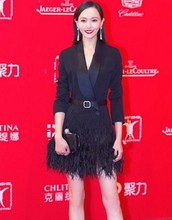 2016 star runway designer fashion women suit V collar long-sleeve black suit jacket tassel feather dress