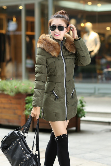 Top Quality Winter warm Jacket Women's Army Green Color Large size Fur Collar Hooded Coat Woman Outwear autumn warm down coat