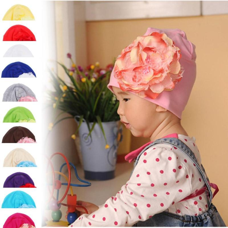 Floral Baby Girl Toddler Infant Children Cotton Soft Cute Hat Cap Winter flower Hats Baby Beanies photo props Accessories D4