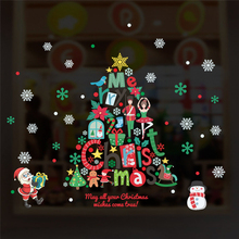 cartoon christmas tree santa claus snowflake wall decals shop window home decor accessories new year wall stickers pvc mural art christmas santa snowflake pattern wall art stickers