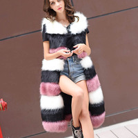 FOLOBE 2018 Vest Women's Winter Faux Fur Jacket Long Overcoat Girl Ladies Multi Color Soft Fox Fur Female Vest Coat CFL026