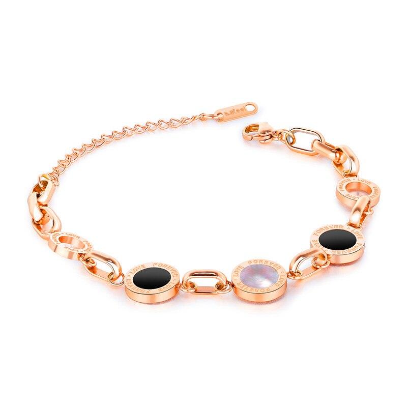 Стильный, римские цифры. Черный и белый женский, женский браслет, titanium стали вакуумные покрытия из розового gold.903