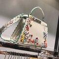 2017 Mujeres Peekaboo Bolso Famoso Diseñador de la Marca de Asas Grandes Bolsos de Hombro Del Bolso Del Bordado de Impresión Remache Olas de Lujo Bolsos Monedero