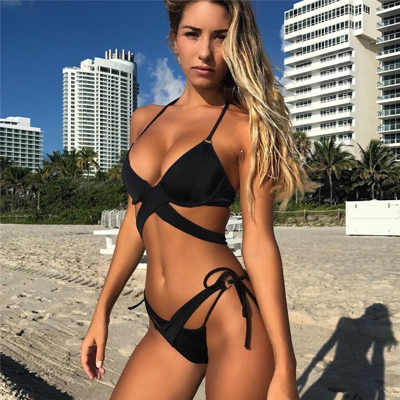 2019 New <font><b>Sexy</b></font> Womens Padded Push-up <font><b>Bikini</b></font> Set Summer <font><b>Hot</b></font> Female Solid Color Swimsuit Bathing Suit Bandage Swimwear image