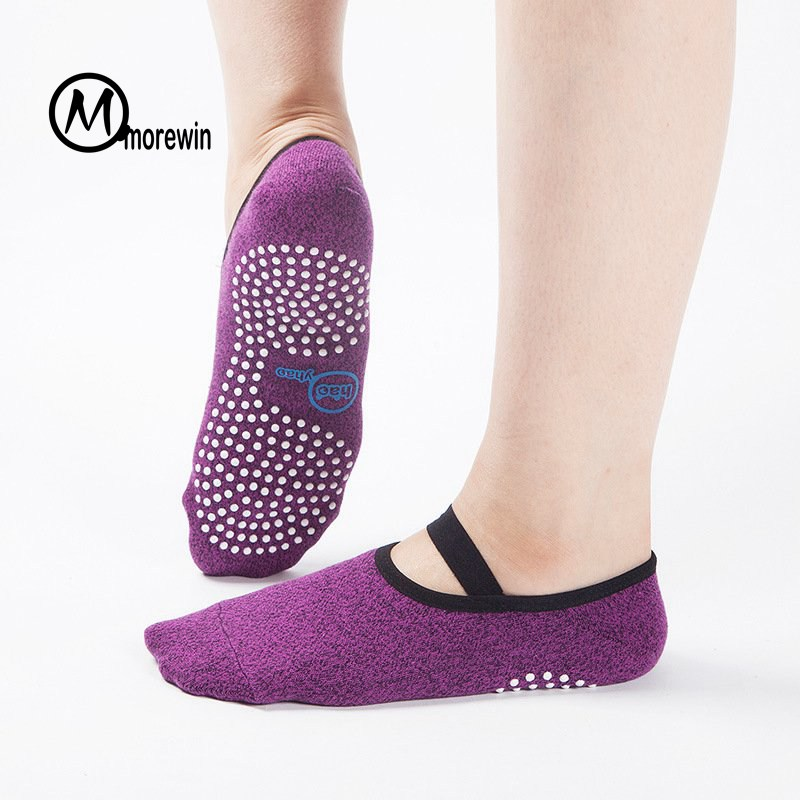 Morewin Women Anti Slip Cotton Yoga Socks Ladies Sport Pilates Socks Ballet Socks Breathable Ladies Dance Socks