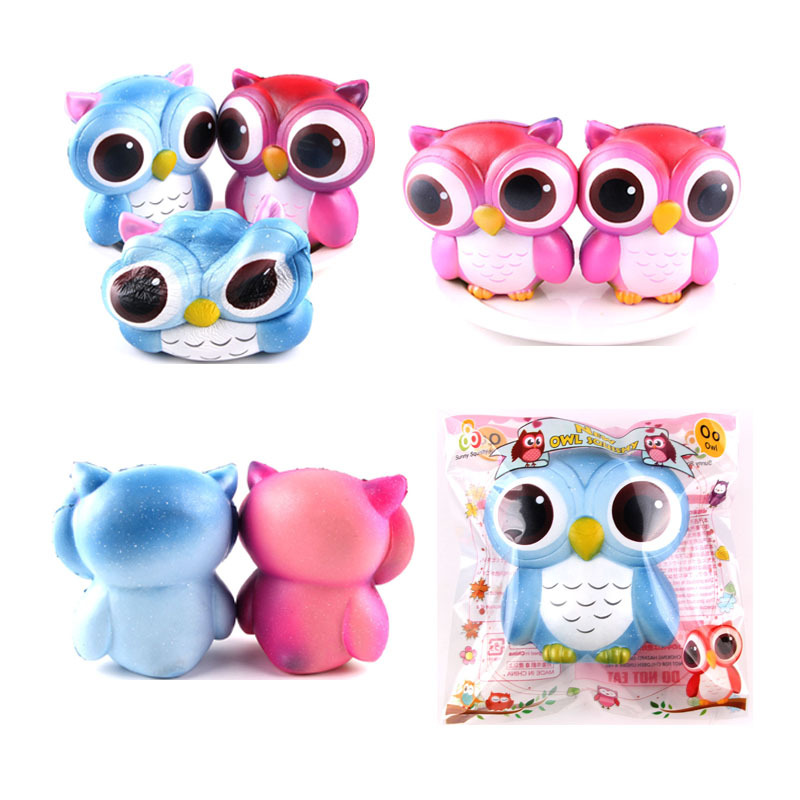 Squishy Slow Rising Scented Big Eyes Owl Soft Squeeze Kids Toys Phone Strap Fun Pressure Release Toy Gift