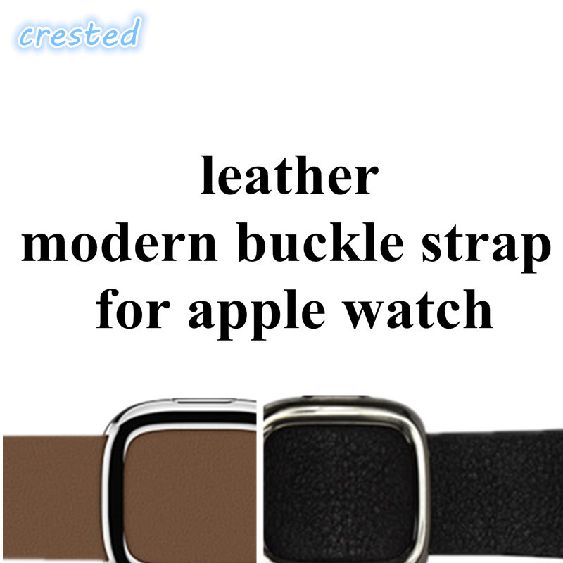 CRESTED leather modern buckle strap for apple watch band 42 mm 38 watch bracelet Genuine Leather