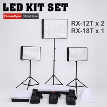 FalconEyes 34W/62W 5600K Dimmable Flexible Portable Continuous LED Video Film Studio Photography Light RX-12T/RX-18T kit set