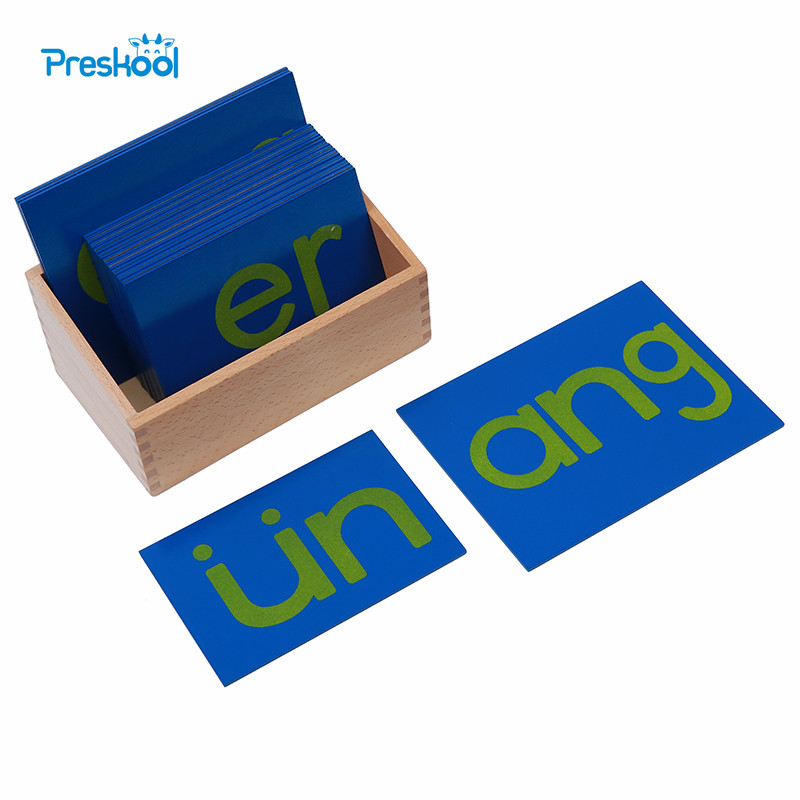 Baby Toy Montessori Sandpaper Letters Chinese Vowel with Box Early Preschool Brinquedos Juguetes montessori mathematics material 1 9 beads bar in wooden box early preschool toy p101