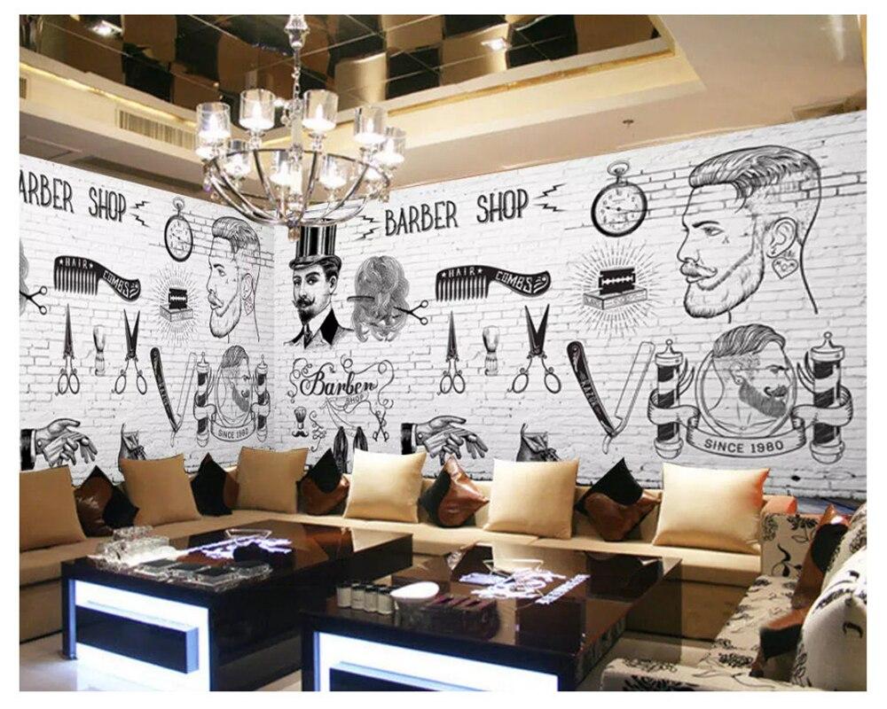 Beibehang Retro Personality Fashion Senior Wallpaper Barber Shop