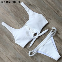 RXRXCOCO Solid Bikini Sets 2017 Sexy Sport Bikini Adjustable Buttom Swimsuit Women Padded Swimwear Summer Beachwear