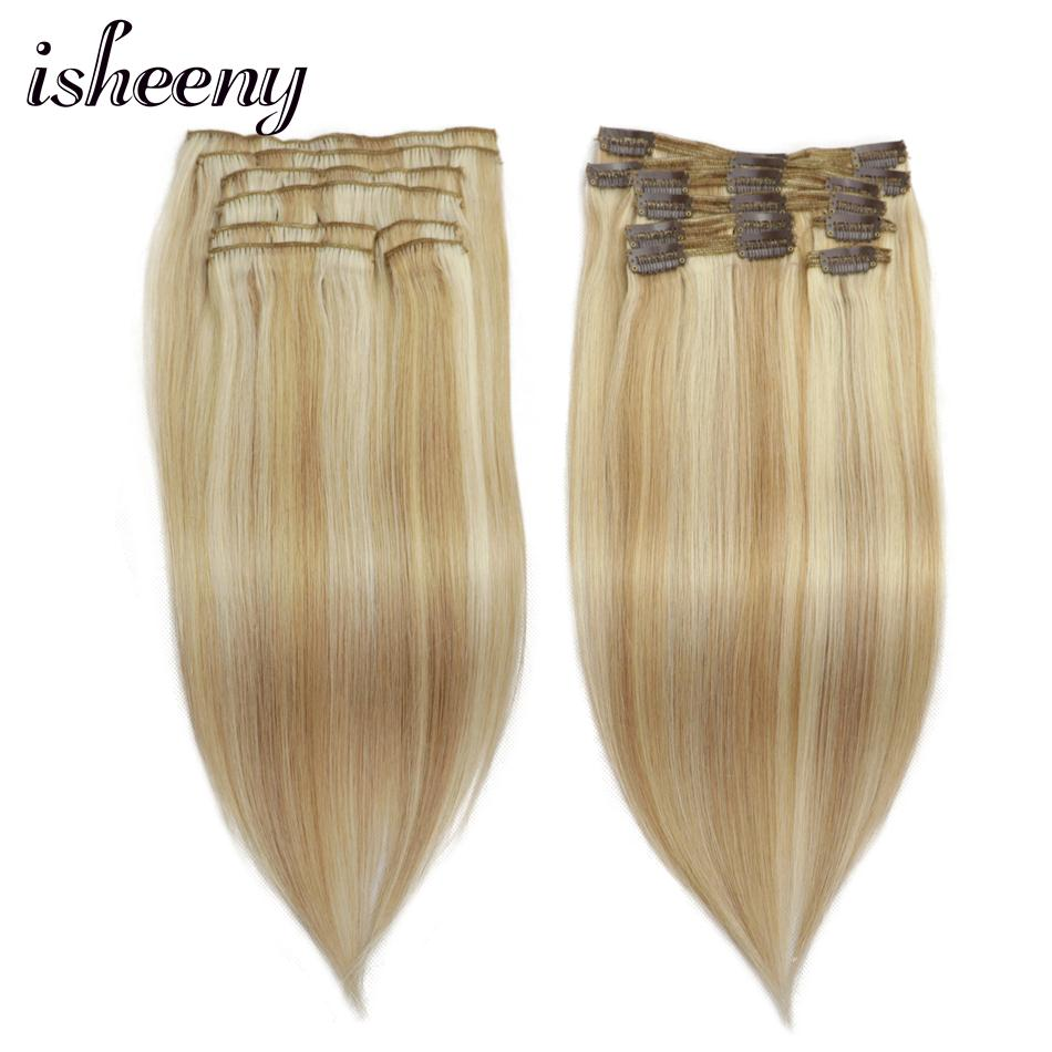 Isheeny 100% Real Remy Clip In Human Hair Extensions Piano Color 27/613 Full Head 8pcs/Set Clip Hair Extensions