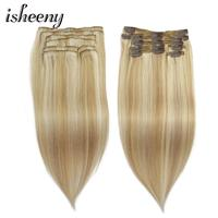 ISHEENY 100% Real Remy Clip In Human Hair Extensions piano Color 27/613# full head 8pcs/set clip hair extensions