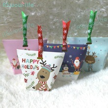 10pcs Christmas Biscuit Cookies Food Snack Bag Packing Box Candy Nougat Gift Boxes For Gifts Presented To Guests