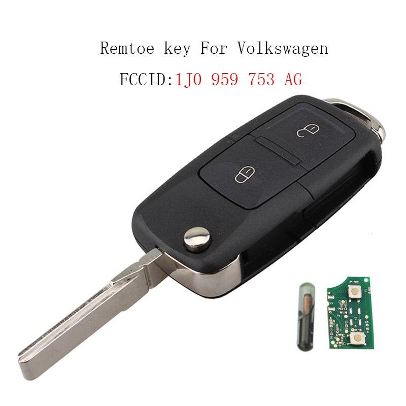 Car key For VW 1J0959753AG Flip Key Case 434MHz Chip for VOLKSWAGEN SEAT SKODA 2Buttons Remote Key Fob 1J0 959 753 AGCar key For VW 1J0959753AG Flip Key Case 434MHz Chip for VOLKSWAGEN SEAT SKODA 2Buttons Remote Key Fob 1J0 959 753 AG