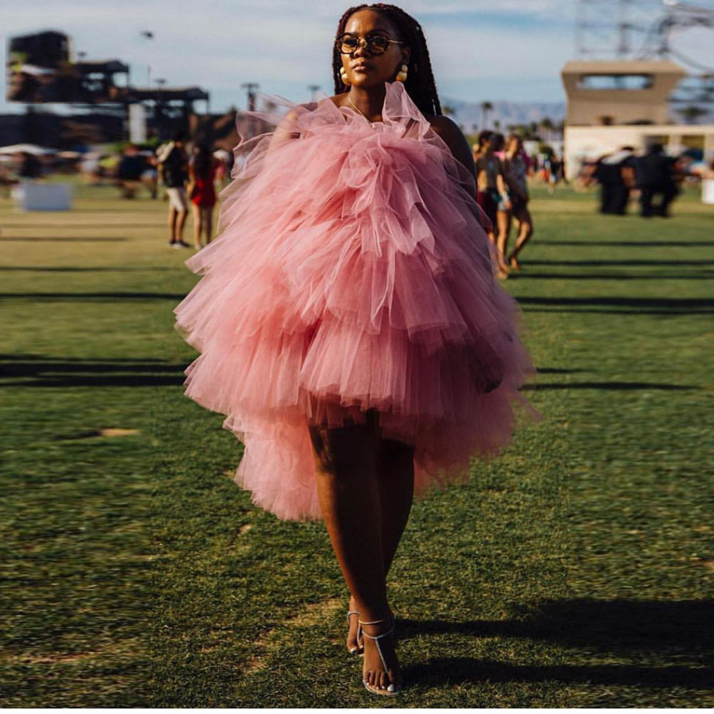 2019 Coral Pink High Low Mid Calf Tulle Women Dresses Plus Size Off The Shoulder Tutu Summer Dress Chic Maternity Dresses
