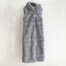 Новинка, жилет из натурального кроличьего меха с капюшоном, зимняя куртка, женская мода, X-long, 120 см, жилет на заказ, любой размер, tsr444