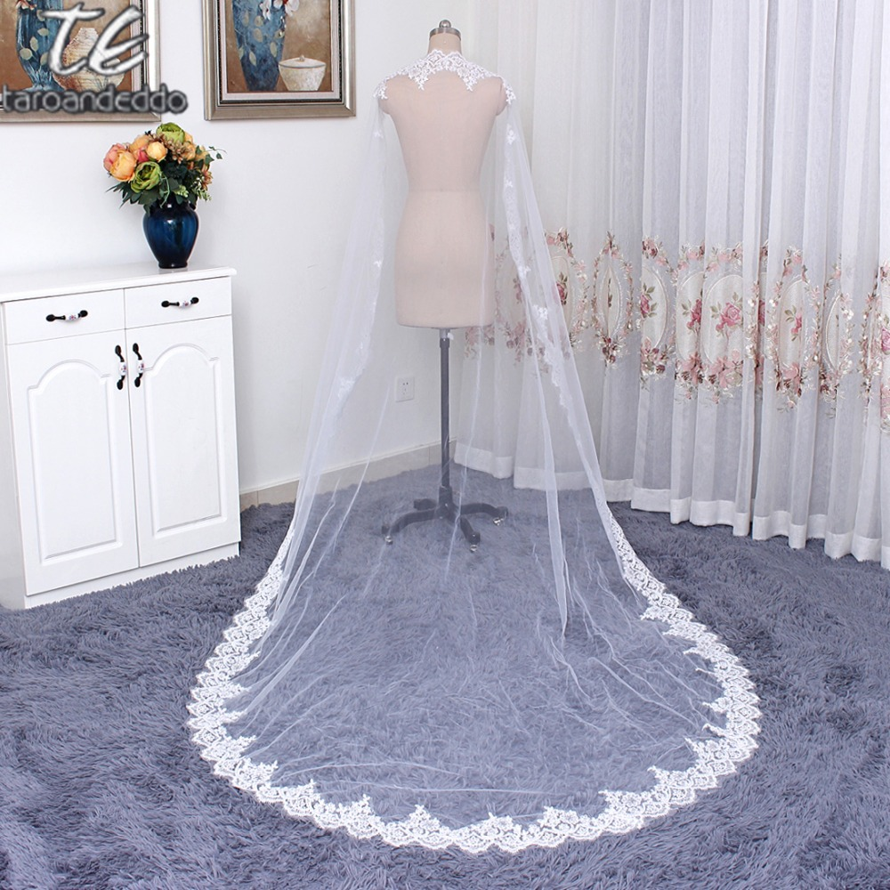 One Layer 3M Width Vintage Style Cathedral Bridal Veil with Comb Long Sequin Lace Appliques Wedding Veil Voile Mariage
