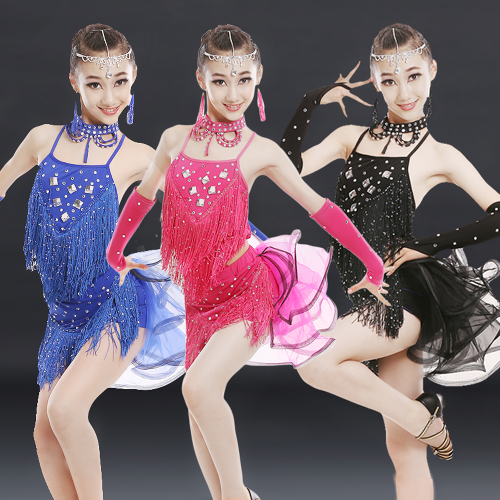 2018 fille enfants enfant Latin danse Costumes 4 pièces (robe + chapeaux + collier + Bracelet) 3 couleur Long gland Salsa danse de salon jupes