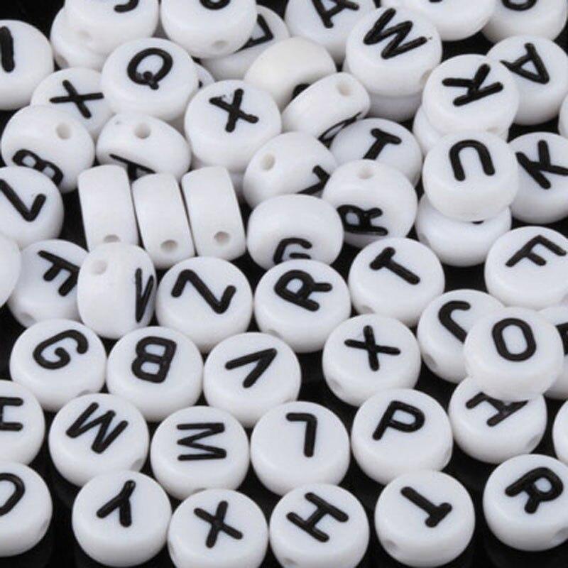 Lot Transparent Multicouleur Perle Lettre Alphabet Rond 7mm Braclet Porte clé..