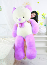 huge creative purple&white Teddy bear toy new big lovely bow bear gift doll about 160cm