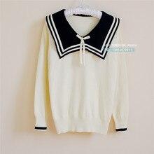Algodón Preppy estilo marinero Collar suéter con Bowknot tejido Jersey  cuello pico prendas de punto japonés escuela uniforme cam. 6ffcb1ac0f6a3