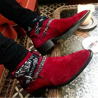 2018 High End Exclusive Chain Buckle Strap Graffiti Cloth Chelsea Boots Red Suede Catwalk T show Luxury Brand Men casual Boots