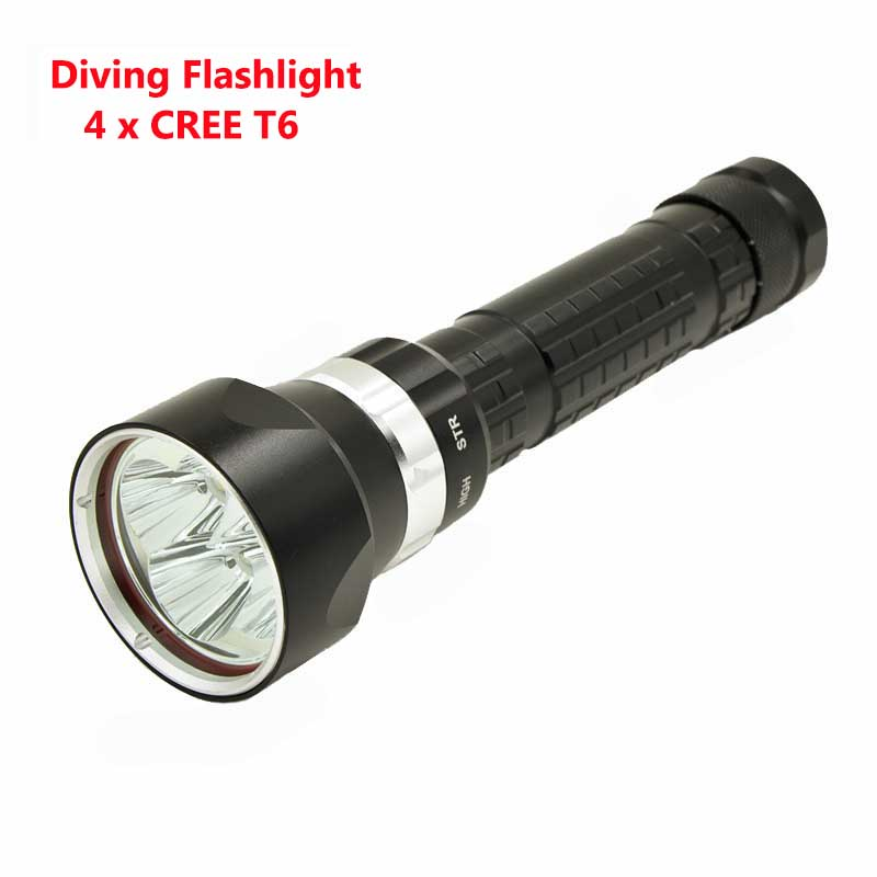 Led Flashlights New Scuba Led Diving Flashlight 4x T6 Led 10000lumens Diving Flashlamp Led Lamp Torch Light Lamp For Underwater Hunting Refreshing And Enriching The Saliva