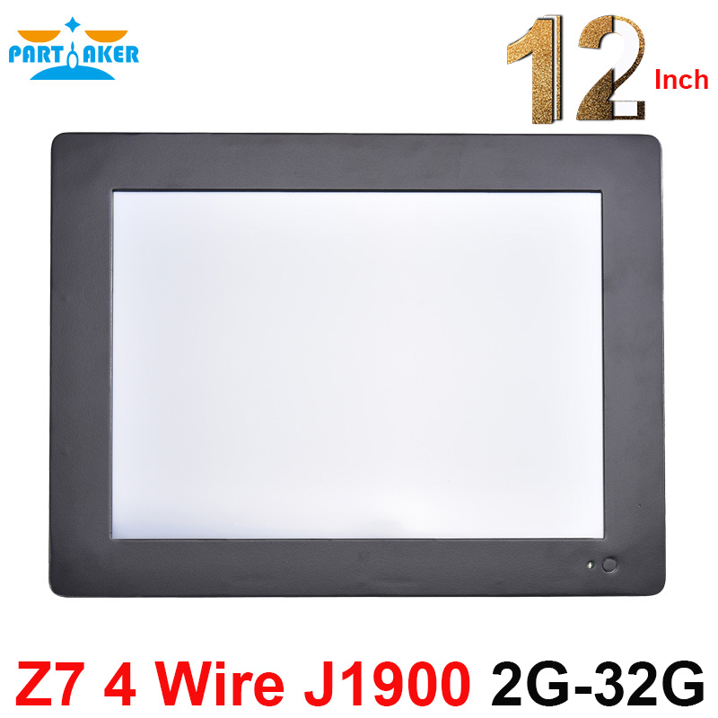 Partaker Z7 4 Wire Resistive Touch Screen All In One PC Computer with 2mm Slim Panle 12.1'' Intel Celeron J1900 2G RAM 32G SSD all in one pc with 10 1 inch industrial 4 wire resistive screen 4g ram 128g ssd support calls boot wake on lan