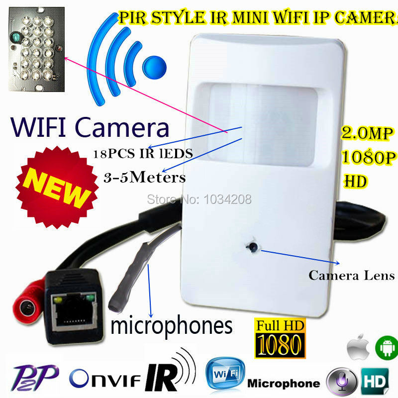 Беспроводной 1080 P мини IP Камера Wi-Fi Ночное видение Камера 940nm детектор движения Pir Камера Pir Стиль Mini IP Wi-Fi Камера микрофон