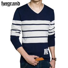 HEE GRAND 2017 High Quality Casual Sweater Men Pullovers Brand Winter Knitting Long Sleeve V-Neck Slim Knitwear Sweaters MZL712
