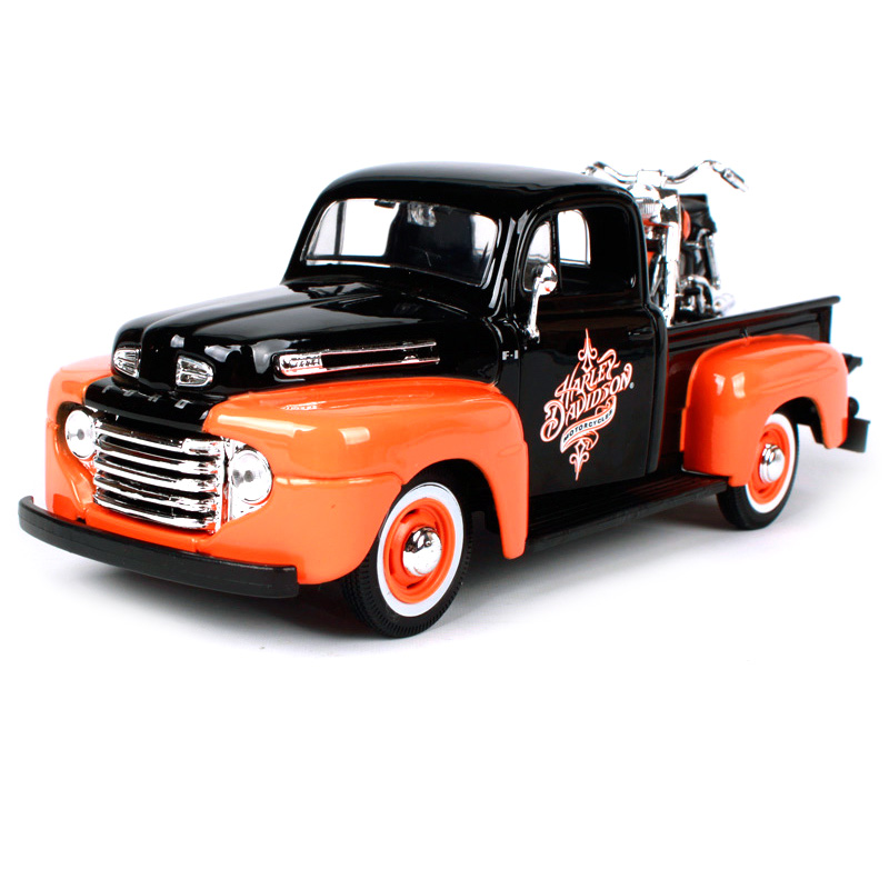 Maisto 1:24 harley ford 1948 f-1 pick-up orange black truck model big pick up trucks car diecast with a motorcycle model 32180 maisto 1 24 2017 white blue silver f 150 partor pick up truck model for ford big emulation pick up car diecast for ford 31266