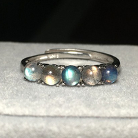 925 Sterling Silver Women Wedding Ring Natural Moonstone Bead Shine Stone Insert Adjustable Female Rings Finger Jewelry Bijoux