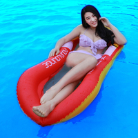 160CM Giant Blue Red Mesh Inflatable Pool Float Lie on Swimming Ring Beach Pool Summer Party Toys Air Mattress Beach Bed Lounger