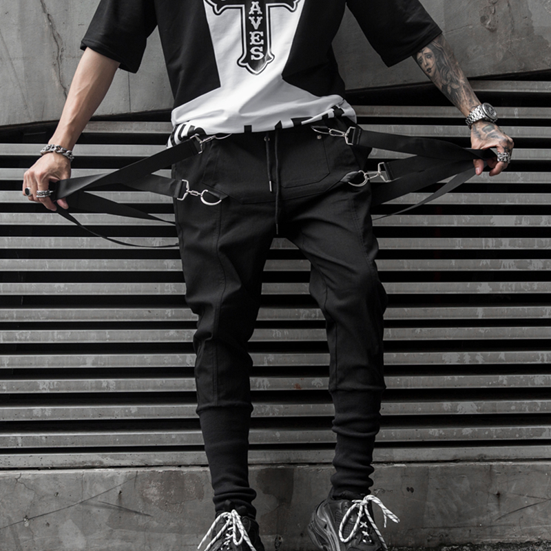 Hip Hop Mens Joggers Pants Black Casual Streetwear Sweatpants With With Ribbons 2019 Spring Fashion Harem Pants For Man